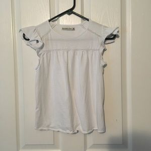Abercrombie and Fitch White Ruffle Sleeve T Shirt
